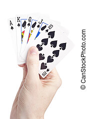 A hand holding playing cards against a white background