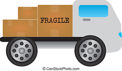 cartoon truck with merchandise - white truck with fragile...