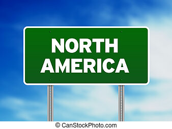North America Highway Sign - Green North America highway...