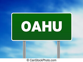 Oahu Highway Sign - Green Oahu highway sign on Cloud...
