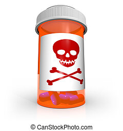 Poison Skull and Crossbones Symbol on Medicine Bottle - An...