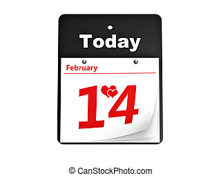 tear-off day calendar valentines day isolated on white...