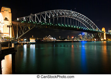 Sydney Harbour Bridge By Night with sparkling water...