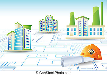 Building on Blue Print - illustration of building on blue...