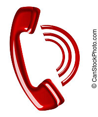 red telephone calling isolated over white background