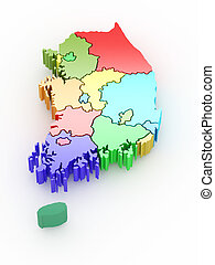 Three-dimensional map of Southern Korea. - Three-dimensional...
