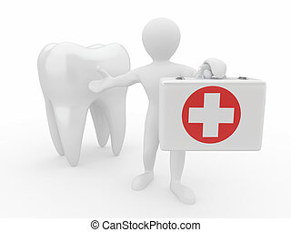 Stomatologist Tooth and Men with medical kit 3d
