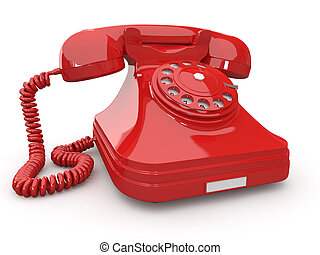 Old-fashioned phone on white isolated background 3d