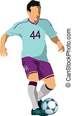 Soccer players Colored Vector illustration for designers
