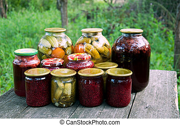 Home canning Pickled vegetables and jam