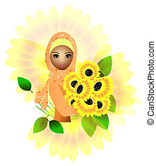 sunflower girl - a beautiful muslim girl holding sunflowers