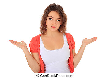 Clueless young woman All on white background