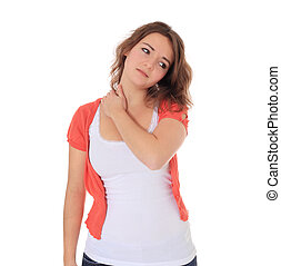 Neck pain - Attractive young woman suffering from neck pain....