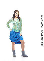 Teen fashion - Young teen in the shirt blue petticoat and...