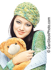 My lovely Teddy bear - Smiling lady in the stylish winter...