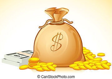 Bag Full of Money - illustration of bag full of coin and...
