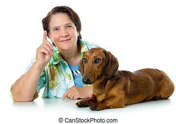 advice for training a dog - woman gives advice for training...