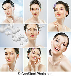 collage girls healthy - portrait of a beautiful healthy...