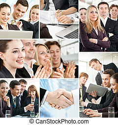 business people - team of successful smiling young business...