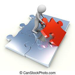 3d man placing puzzle peace - 3d man placing last red puzzle...