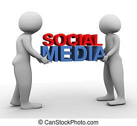 3d men with 'social media' - 3d men carrying text 'social...