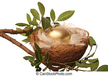 Golden Nest Egg - Golden egg in a nest with white feathers -...