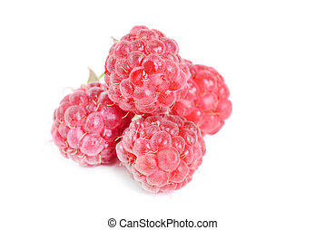 Stock Photo: raspberries isolated on white background
