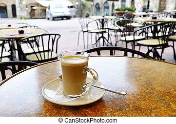 Cafe latte in an Italian village