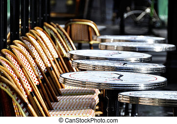 Parisian cafe terrace after the rain