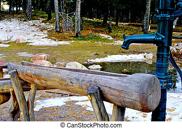 wooden fountain - Alpine style wooden fountain
