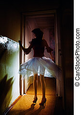 Night dance - Elegant lady with beautiful legs dancing in...