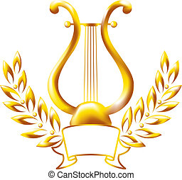 Gold lyre, framed by a laurel wreath