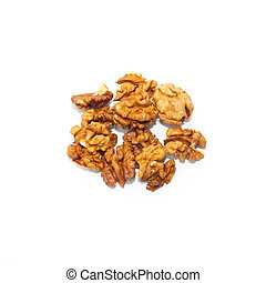 Heap of walnuts isolated on white.