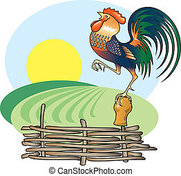 Singing Rooster and morning Sun