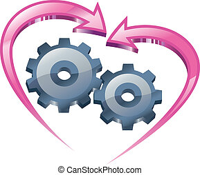 Understanding and love. - Spinning gears and arrows in the...