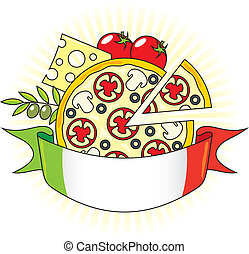 Pizza with the components and the flag of Italy. Emblem.
