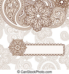 vector  paisley background with frame for your text