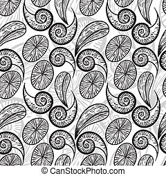 vector seamless abstract hand drawn monochrome pattern