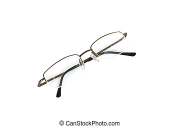 Transparent spectacles isolated on white.