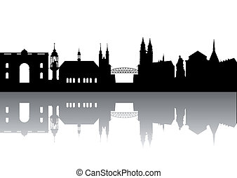 Magdeburg Silhouette abstract isolated
