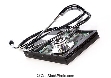data recovery - a hard disk and stethoscope on white...