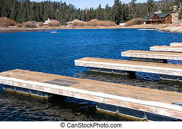 Boat marina - A boat marina at Big Bear Lake shows the...