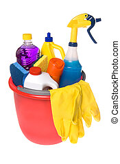 Bucket of cleaning supplies - A bucket of cleaning supplies...