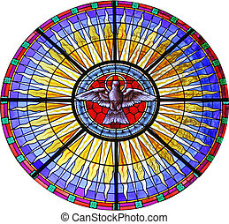 peace Dove - A Window from the Church with Dove of Peace