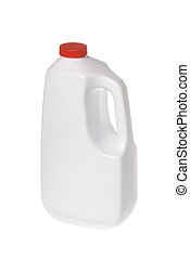 White chemical solution bottle - A white plastic cleaning...