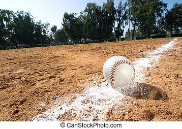 Baseball on chalk line - A baseball lies in the chalk line...