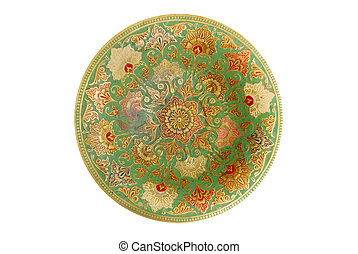 Painted metal plate isolated on white.