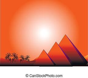 Sunrise in Egypt with pyramids and palms