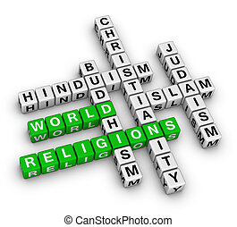 major world religions - Christianity, Islam, Judaism,...