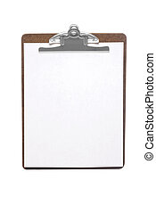 Clip board - An isolated clip board with white sheet of...